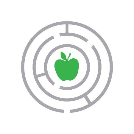 maze and apple as health symbol in flat style