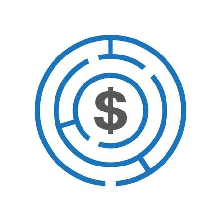 blue maze and dollar sign showing ways to access money