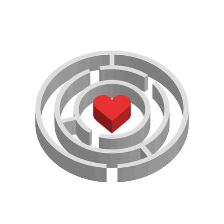 3D maze and heart sign showing ways to access love Standard-Bild - 100113884