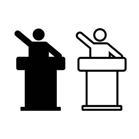 lecture icon shows a lectern and man who speaks in outline and silhouette style