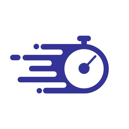 stopwatch flat icon shows time is running fast in a silhouette style Illustration