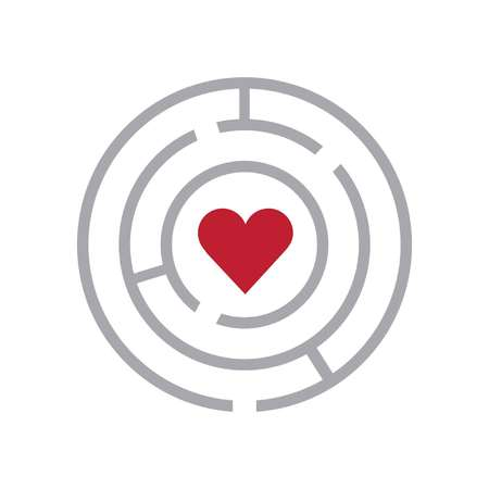 Maze and heart sign showing ways to access love.  イラスト・ベクター素材