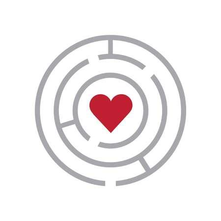 Laberinto y corazón signo muestra de los efectos a mantener el acceso Foto de archivo - 100113692