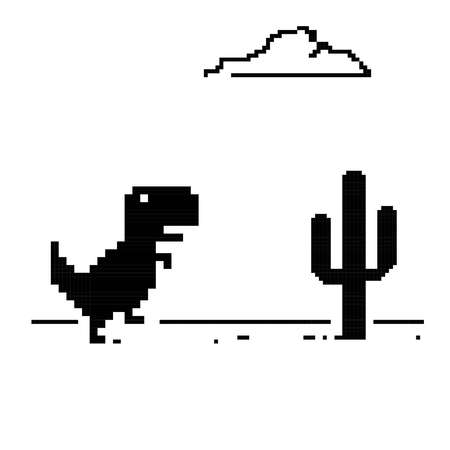 Dinosaur running with a cactus.