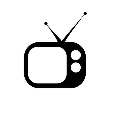 old tv icon in black and white