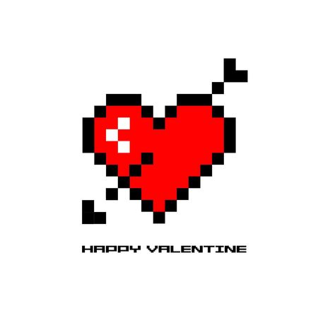 8 bit valentine heart in pixel art style Illustration