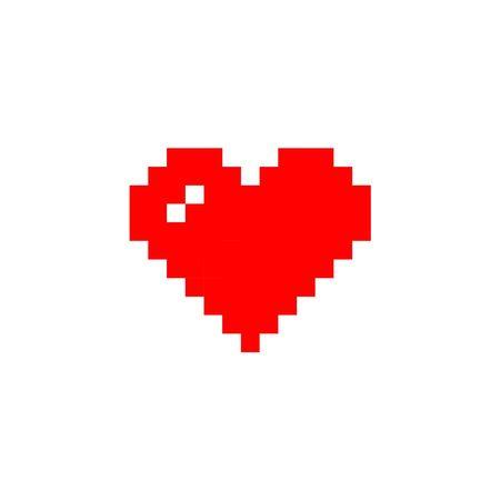 8 bit heart in pixel art style