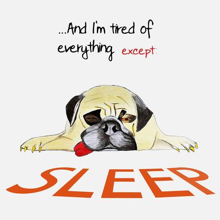 sleepy dog on the ground with slogan shows importance of sleep
