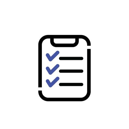 Clipboard outline icon shows inspection checklist