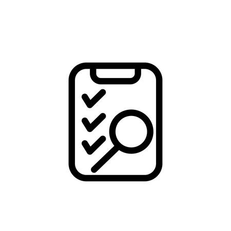 Outline Clipboard and magnifier icon shows inspection checklist
