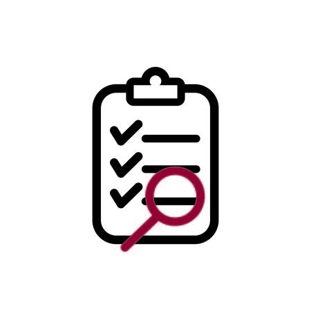 Clipboard and magnifier outline icon shows Audit checklist Standard-Bild - 117584809