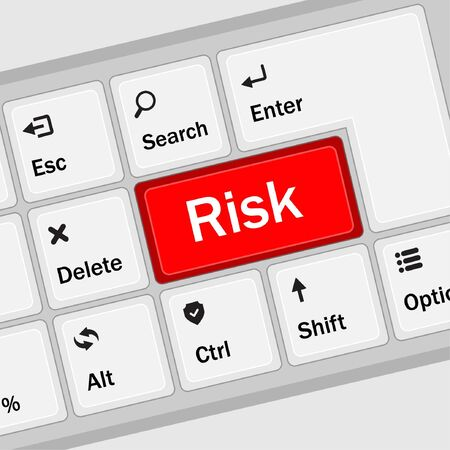 Risk management keyboard shows decision options for risk