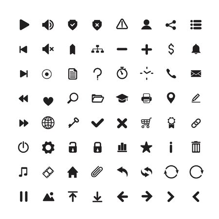 set of internet icons in a simple flat style