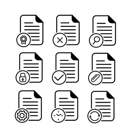 et of document icon in outline style Illustration