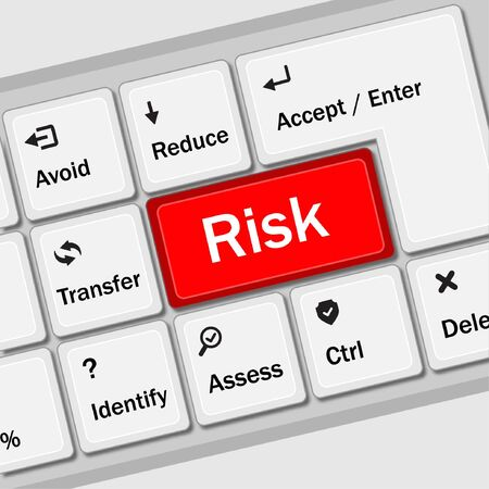 Risk management keyboard shows risk control panel Illustration