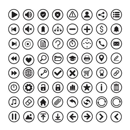set of internet icons in a simple flat style with circle around