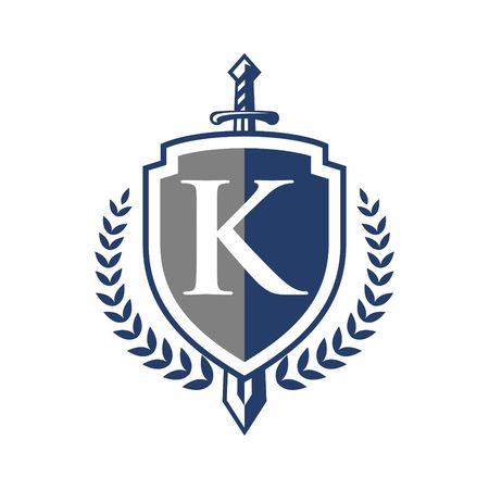 Royal elegance heraldic shield logo Illustration