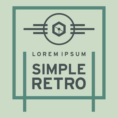simple logo: Simple Retro Logo Template Stock Photo