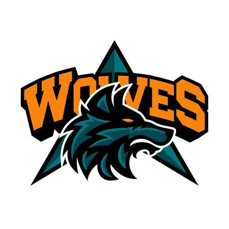 lobo feroz: Plantilla del logotipo del lobo Foto de archivo