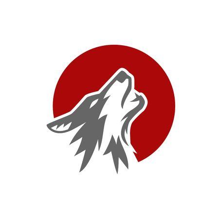 angry dog: Plantilla del logotipo del lobo Foto de archivo