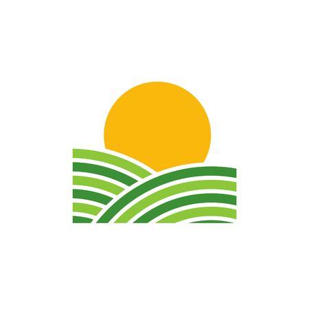 oat field: Farm Green Vector Template Stock Photo