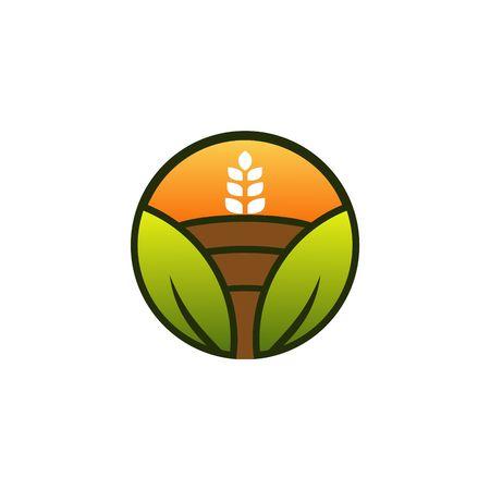 oat field: Farm Gree Vector Template