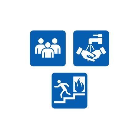 directives: Mandatory Signs, safety sign used in industrial applications Stock Photo