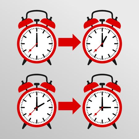 back in an hour: Daylight Saving Time Vector Template