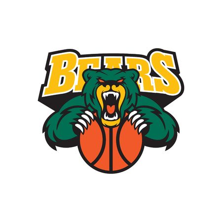 animal mouth: Bear Sport Logo Vector Template