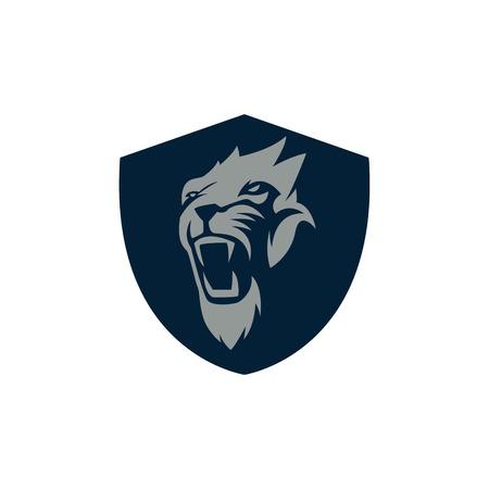 the lions: Le�n Deporte Logo Vector plantilla