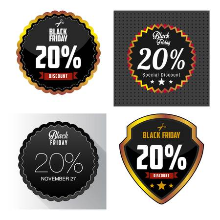 price label: Black Friday Sale, discount and voucher template
