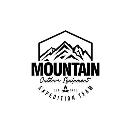 山の流行に敏感なロゴのテンプレート
