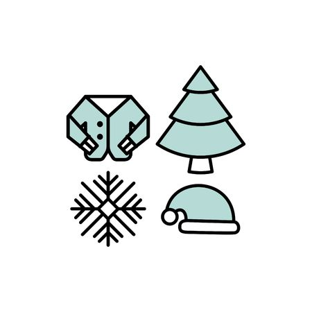 tree line: winter line icon set