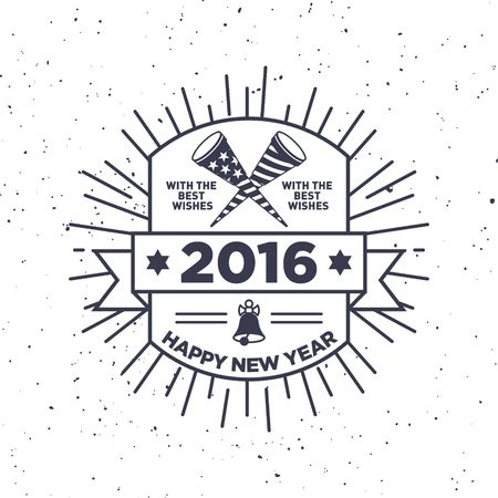 distressed: Hipster New Year 2016, Badge and trumpet, distressed vector