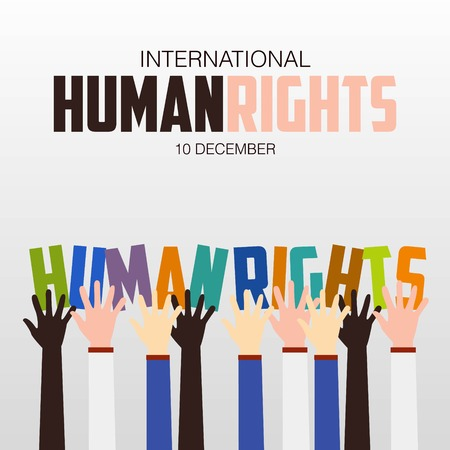 human icons: Human Rights Day, poster, quotes, vector template