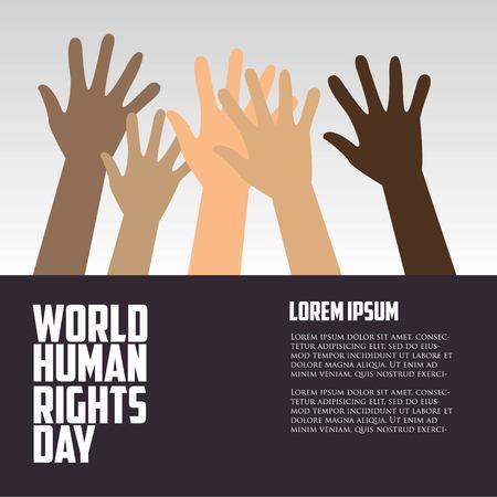 世界人権デー、ポスター、引用符で、ベクトル テンプレート
