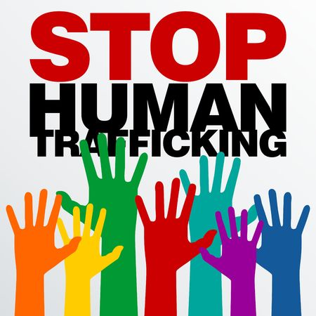 Human Trafficking Vector Template Фото со стока