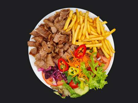 Salad Doner Plate, Döner Wires mit Salat - piatto con kebab