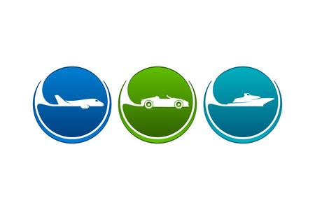 seaway: Colorful vehicles icons as airline, highway, seaway.