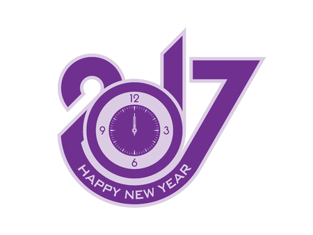 New year 2017 typographic design with clock figure
