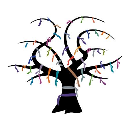 Wunsch-Baum und bunten Bändern für Design