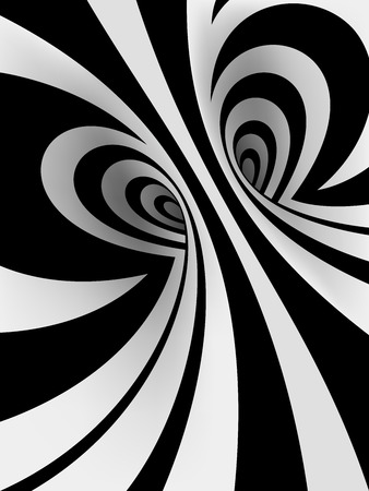 3d black and white abstract spiral background with romantic heart-shaped