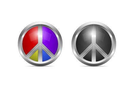 sensation: Metallic peace symbol design with color alternative as 3d shaped
