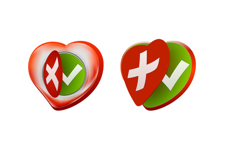 Romantic approval rejection symbols design with red heart shaped