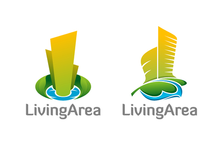 greenness: Vector logo design. Natural healthy living area architecture logos. Illustration