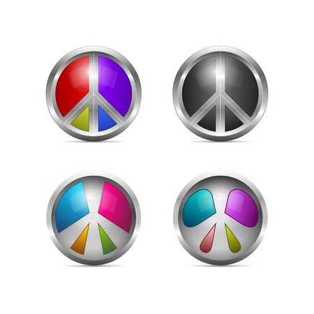 sensation: Vector icon design. 3d colorful metallic peaces symbols.