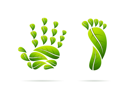 Ecological concept icons with green leaves shaped as hand and foot. Vector illustration image.