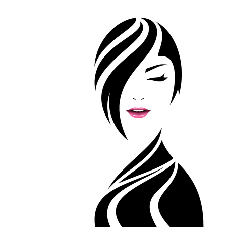 Pretty woman face in hairs silhouette. Beauty concept vector illustration.
