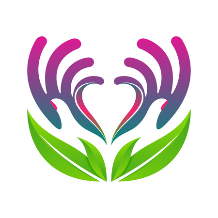 hands protecting heart eco health concept colorful vector icon eps10 for your designs