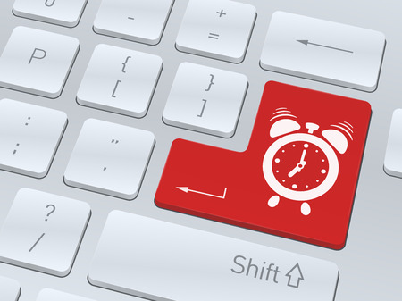 Design of white computer keyboard with alarm clock icon for your corporate projects. Vector illustration background.